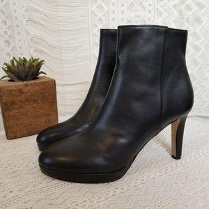 Nine West Black Leather Platform Heeled Bootie 8M